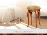 现代简约卧室梳妆凳 美式乡村实木化妆凳 复古布艺小圆凳