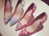 韩国Jmiss2014新款进口超嗲水染印花嫩粉尖头高跟单鞋女鞋
