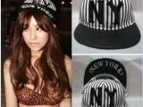 韩国代购ny条纹平沿帽情侣帽new york嘻哈街舞平檐棒球帽子