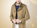 秋冬装男士风衣大衣中长款韩版男呢大衣加厚羊绒毛呢外套男品牌