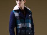 2015春装新品男式英伦时尚修身加厚风衣潮牌格子呢大衣羊羔领外套