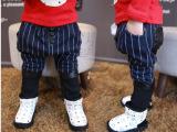 一件待发 韩版新款童装 2014冬款男童竖条哈伦裤假2件休闲裤