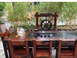 周口老船木茶桌椅组合新中式古典茶桌客厅办公室茶台船木博古架