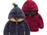 外贸童装 男女儿童宝宝加绒加厚羊羔绒毛球连帽外套棉服两面穿