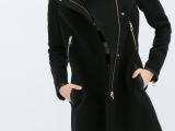 外贸原单Z家秋冬新款女式修身中长款毛呢外套肩部PU拼接立领大衣