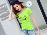 夏季新款韩版休闲宽松显瘦亮片笑脸图案t恤短袖女装