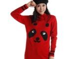 秋冬新款女装批发 加厚红色针织衫打底毛衣