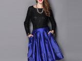 女装 2015春装新款绣花欧美半身裙纯色立体装饰百搭时尚裙