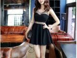 瑞丽个性款修身包臀小黑裙无袖背心打底夜店性感连衣裙