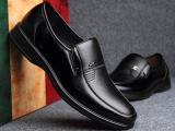 厂家批发男鞋2015新款真皮头层牛皮商务正装中年套脚软底防滑皮鞋