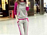2014秋装新款 女士套装 拼接色长袖长裤连帽休闲套装 运动套装