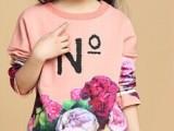 秋季新款品牌童装批发 中大童女童长袖印花T恤 儿童百搭针织上衣