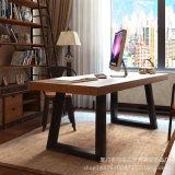美式铁艺实木电脑桌椅组合家用简易双人书桌写字台办公桌工作桌子