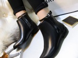 冬季新款欧美牛皮金属搭扣绑带尖头粗跟马丁靴 平底短靴 一件代发
