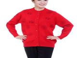 中老年红色福字羊绒开衫 爸妈情侣装外套 新年唐装加厚大码毛衣