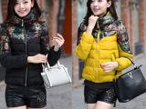 冬装棉衣韩版轻薄款修身显瘦立领拼接羽绒棉服外套女装