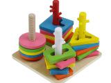 四柱智力套柱 儿童早教益智力木制婴儿形状配对认知积木宝宝玩具