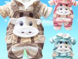 婴儿棉衣背带裤套装秋冬装加厚宝宝棉袄儿童棉服男女孩连帽二件套
