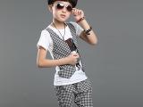 2015韩版童装儿童夏装格子假马甲烫钻中裤两件套男孩休闲套装衣服
