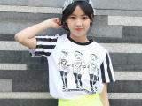 韩国东大门夏季同步 拼袖条纹宽松短袖 女式t恤卡通人物纯棉t恤