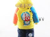 冬季新款 童套装 男童连帽棉衣外套 宝宝加绒加厚棉袄两件套8812