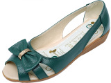 新款闽郎世家女凉鞋 中年鱼嘴鞋中坡跟真皮软底妈妈鞋 夏季洞洞鞋