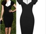 2015ebay欧美新款修身短袖经典黑白礼服裙外贸连衣裙女装速卖