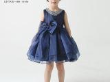 藏蓝色花童无袖短裙缎布蝴蝶结蓬蓬裙欧根纱蕾丝多层礼服