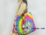 欧美原宿彩绘渐变色动物图案帆布单肩包手提袋休闲包环保袋购物袋