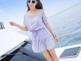 2014春夏连衣裙新款打底女式波西米亚沙滩短裙 露肩裙