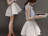 2015夏新品雪纺套装裙韩版OL无袖短款网纱伞裙两件套潮气质连衣
