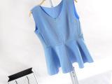 韩版立体轮廓V领纯色百搭太空层娃娃衫(健康布V领裙)
