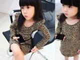 2014秋款女童豹纹圆领连衣裙一件代发一件代发包邮