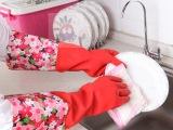 【丽嘉艺】**专利 加长静电植绒保暖护手乳胶手套