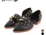 2014欧美新款时尚真皮女鞋尖头粗跟短靴铆钉单鞋黑暗缪斯6680