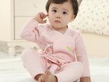 婴儿高档提花薄棉内衣套装 绑带四季通用套装 优质工厂低价清仓