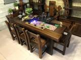 實木大板茶桌椅組合仿古老船木茶臺喝茶桌椅