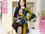 2015秋冬新款韩版修身中长款西装领羊毛呢大衣毛呢外套