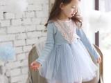 韩国代购童装秋季长袖蕾丝女童连衣裙中大童蓬蓬裙礼服公主裙纱裙