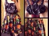 2014早春小辣椒同款牡丹花朵复古印花百搭蓬蓬高腰半身裙