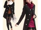 秋冬新款 韩版大衣 圆领 双排扣 气质 修身 圈圈呢女式呢大衣外套