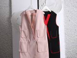 欧美高端大牌简约中长款复合翻领西装款马夹外套背心马甲风衣
