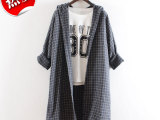 2113 韩国代购2014秋季女装韩版格子连帽宽松大版长款长袖衬