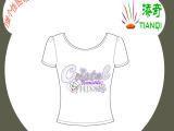品牌女式秋季长款T恤个性图案数码热转印加工 四色印刷一件起印