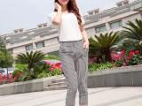 8元新款韩版竖条纹打底裤女士7分裤外穿铅笔小脚裤女装批发