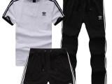 2014夏季新款短袖套装 男三件纯棉透气时尚休闲运动套装代理分销