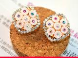 韩国新款镶钻菱形淑女款耳夹 耳钉 气质耳环 饰品批发 满包邮
