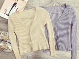 2015秋装韩版时尚百搭女装修身显瘦V领七分袖短款毛衣开衫外套