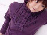 新款2014韩版女装 时尚修身高领秋装花领t恤 女 长袖T恤打底