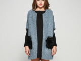 2014秋冬女装拼接袖欧美外套 女式大衣冬季外套 圆领羊毛外套女